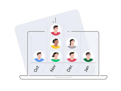 True-month-to month plans avatars employees plans vector illustrations ui flat illustrator illustration