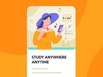 GetExam app 2 uidesign school maths beach student study app study education app education ui illustrations vector illustrator flat illustration