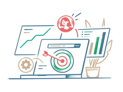 Tools and algorithms to target the clients dribbblers dribbble ipadprocreate graphic design office laptop workprocess drawing procreate target branding ui illustration