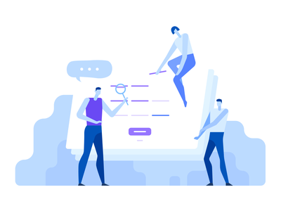 Illustration Domain Creation process tags work people development creation purple blue flat illustrator illustration