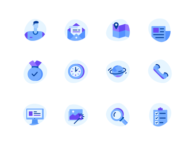 Icons set blue planet search reward clock imac map phone mail mail icon user icons icons set