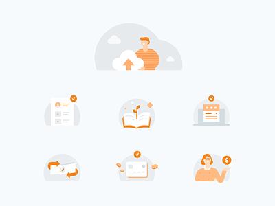 Vidya Illustrations illustrations design education grey orange ui vector flat illustrator illustration