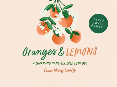 Oranges & Lemons Font Duo illustration vector branding ui design logo cursive font calligraphy wedding font script font