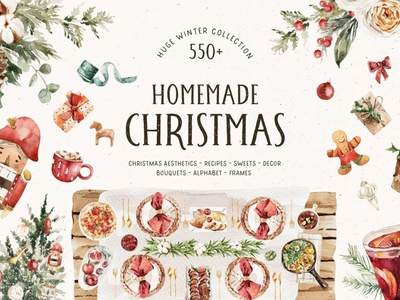 HOMEMADE CHRISTMAS Aesthetics logo icon minimal flat app web ui ux typography branding vector