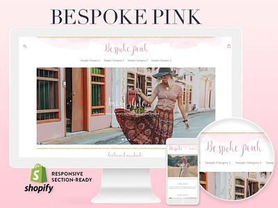 Bespoke Pink Feminine Shopify Theme minimal app icon logo ux branding vector template website design web ui website