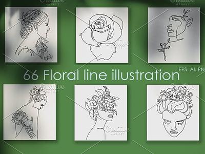 66 Botanical Line illustrations minimal web icon app ux vector elegant font branding design ui logo