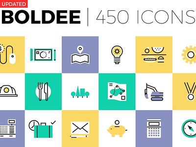 Boldee Pictogram Collection minimal flat web app icon vector ux branding logo design ui