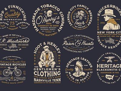10 Vintage Americana Logos minimal ux app script font typography icon logo ui branding vector