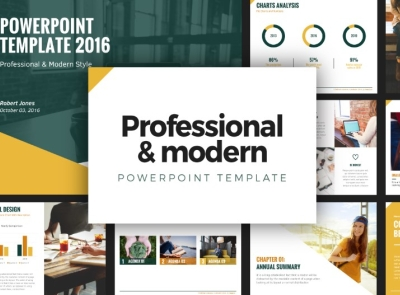 Professional Modern Powerpoint Template By Font Lettering
