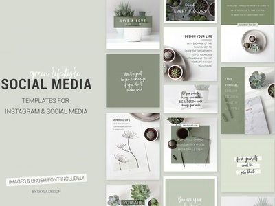 Green lifestyle social media templates