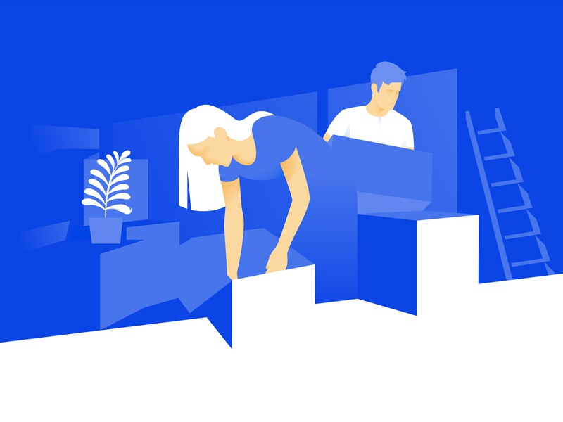 Moving into a new apartment apartment new moving couple design vector digital art art graphic design illustration