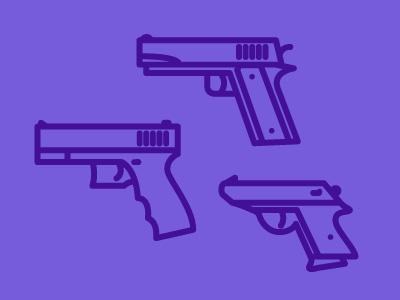 Full clip illustration guns icons