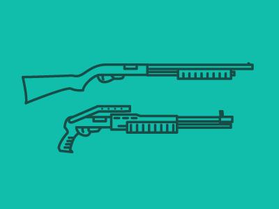 Shotgun guns icons illustration