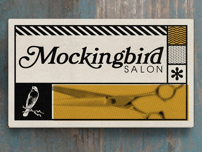 Mockingbird Salon  logo business card mockingbird salon hair scissors design bird pattern