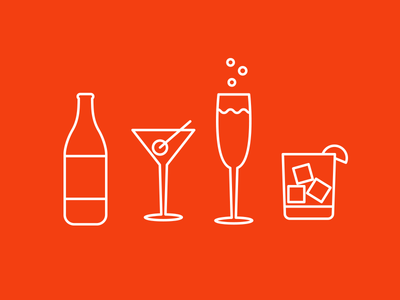 It's a party icons line art cocktail party beer wine champagne mixed drink