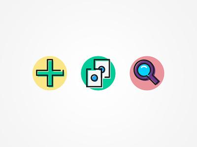 add, copy, search guru ui icons design add copy search