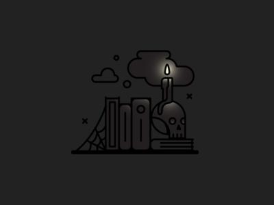 📖🕯💀 darkness dark shelf book spooky halloween skull