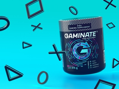 Gaminate Blueberry gaming logo package packaging games modo product visualisation 3d blueberry supplement e sport gaming game