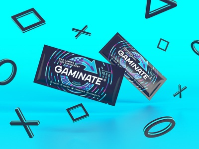 Gaminate Blueberry sachet keyvisual design packagingpro packaging visualisation sachet blueberry blue supplement gaming