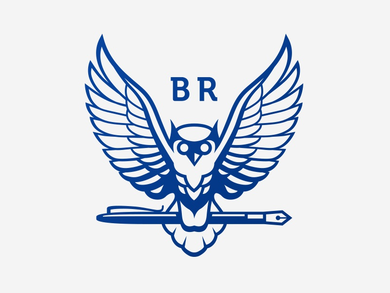BR solicitors office protection law expertise spread wings brand logo solicitor wisdom pen owl