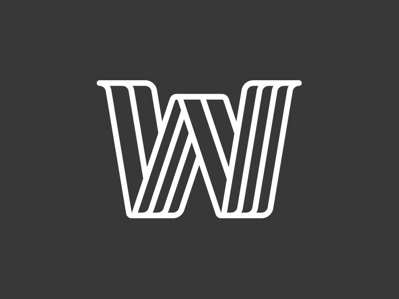 W negative construction frame vector lettering w letter logo