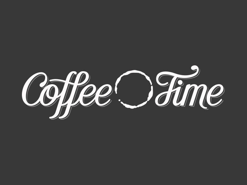 Coffee Time spencerian script lettering cafe brand logo coffee