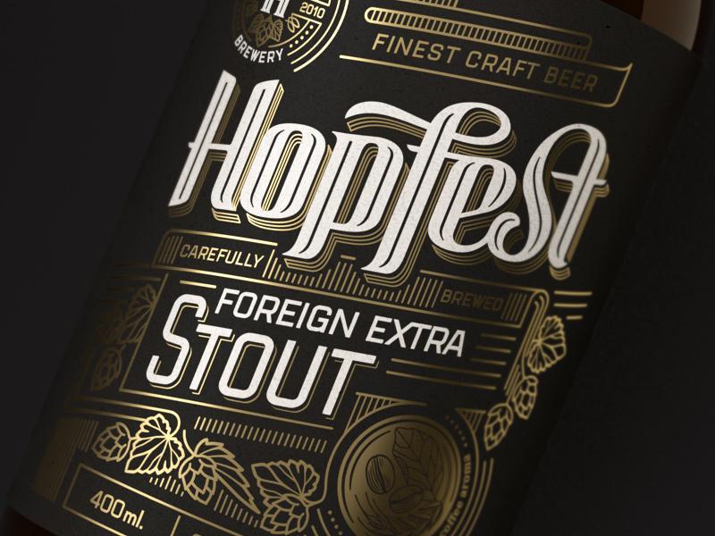 Hopfest Stout Label screen print rice paper foil gold dark stout vintage premium beer craft