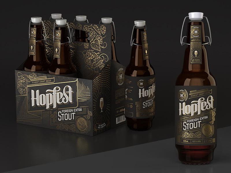 Hopfest Stout foreign extra stout multipack 6pak gold dark stout vintage brand lettering premium beer craft