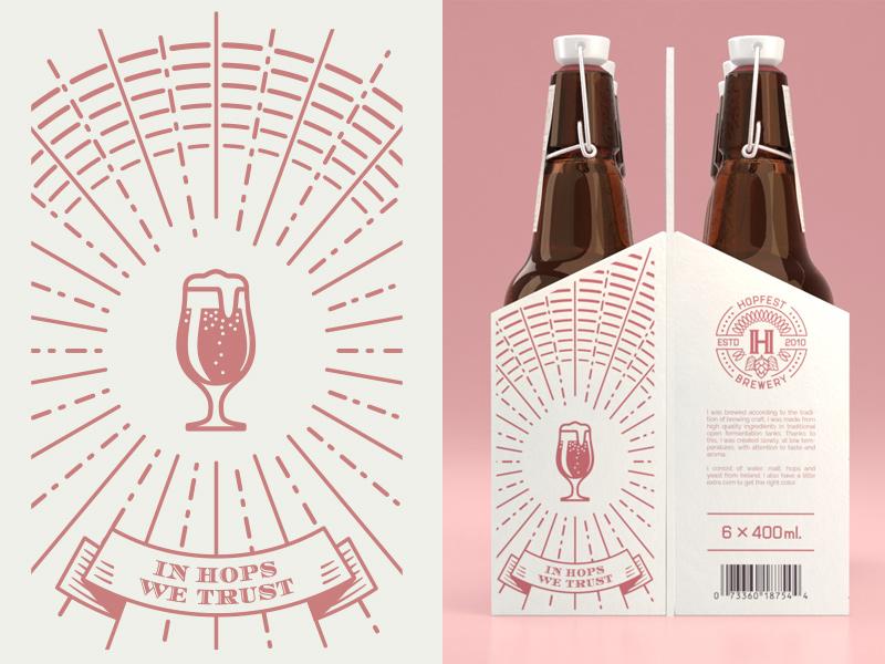 In Hops We Trust design print 6pack beer craft