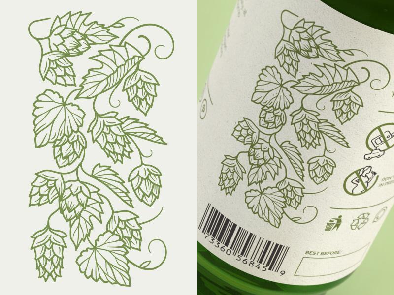 Hops motif bottle packaging beer craft label design graphic illustration vector hops