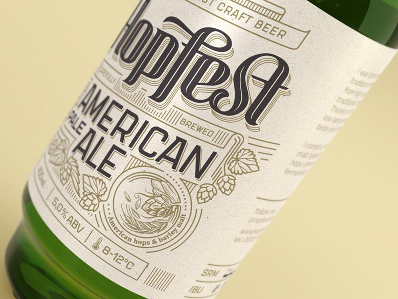 Hopfest Apa Label rice paper screen print apa lettering premium vintage branding design label ale pale american