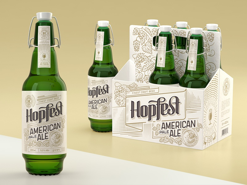 Hopfest American Pale Ale apa classic multipack 6pack premium vintage branding design bottle ale pale american
