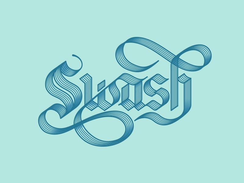 Swash black letter swash baroque style gothic lettering vector