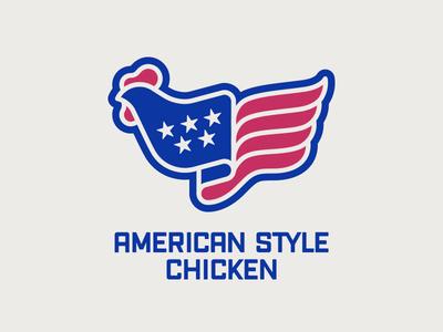 American Style Chicken Logo identity logo brand foodtruck restaurant chicken flag american