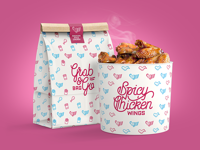 ASC Bucket delicious foodtruck restaurant wings chicken pattern lettering