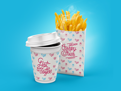 ASC Fries graphic branding foodtruck restaurant delicious fries french design pattern lettering