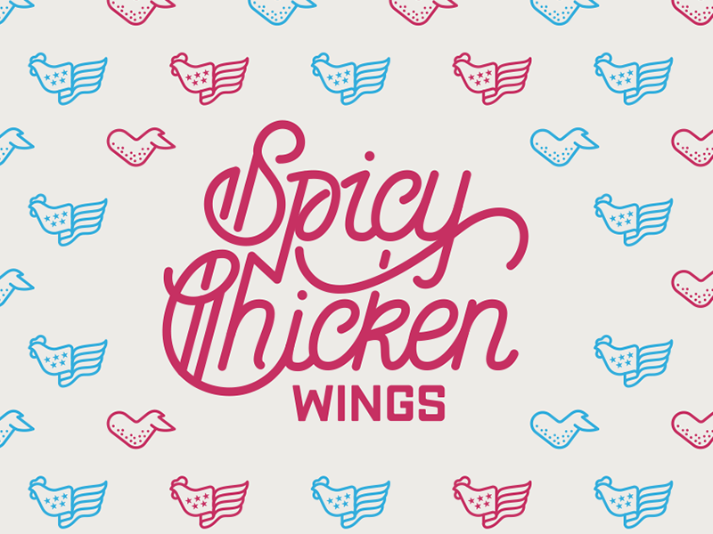 Spicy Chicken Wings design graphic pattern lettering vector