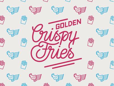 Golden Crispy Fries lettering design graphic pattern lettering vector