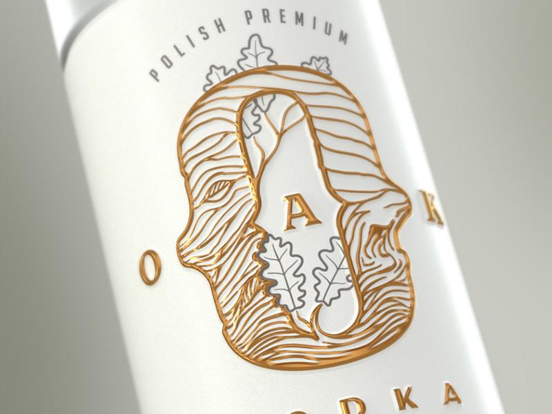 Oak Vodka branding ceramics brass wedding white emboss oak premium bottle vodka branding