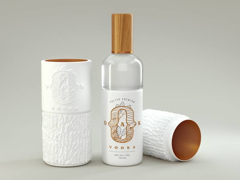 Oak Vodka ceramics brass wedding white emboss oak premium bottle vodka branding