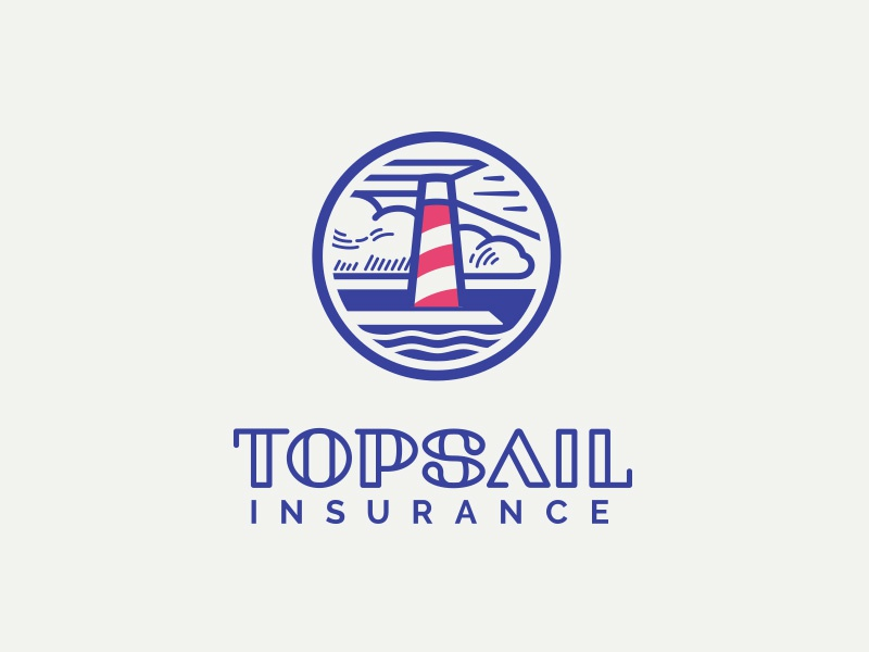 Topsail Insurance logo light bulbs rebranding corporate identity sail sea insurance marine logo lighthouse