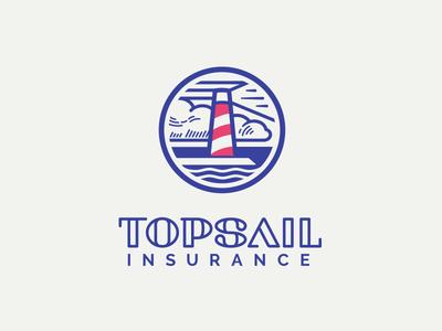 Topsail Insurance logo light bulbs rebranding corporate identity sail sea insurance marine logo lighthouse