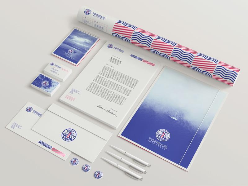 Topsail Insurance stationary lighthouse pattern rebranding stationary corporate insurance marine