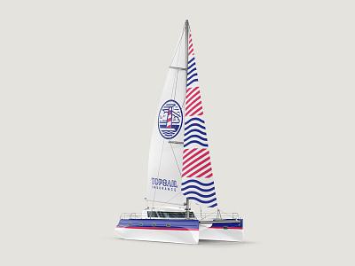 Topsail Catamaran insurance marine branding catamaran