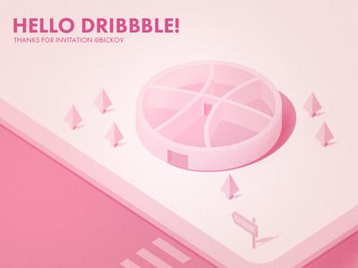 Hello DRIBBBLE! playground dribbbler debut isometric