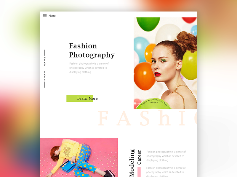 Fashion Photography Concept web header landing page colorful ux e commerce fashion ui