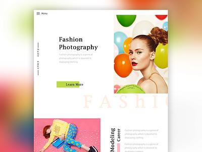 Fashion Photography Concept web header landing page colorful ux e commerce fashion ui