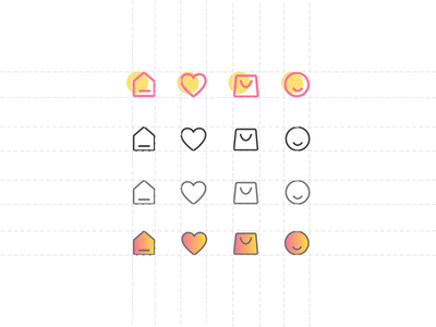 Tab Bar Icon States cart heart user home ux ui tab bar icon