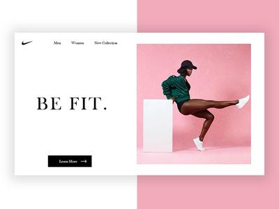 Minimal Nike Landing Page-2 minimal best pink ux fit landing page nike ui