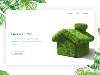 Green House Concept clean minimal home product page cart landing page ux web ui green home